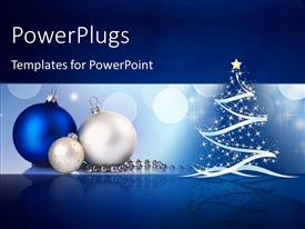 PowerPlugs: PowerPoint template with a Christmas tree with a number of celebration balls