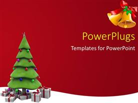 PowerPlugs: PowerPoint template with the Christmas tree with reddish background