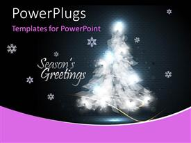 PowerPoint template displaying the Christmas tree with stars in the background
