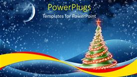 PowerPoint template displaying a christmas tree with some chinning lights on it
