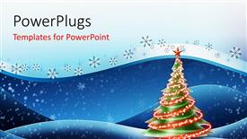 PowerPoint template displaying christmas depiction with snowflakes and decorated Christmas tree