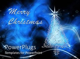 PowerPlugs: PowerPoint template with a Christmas tree and the words merry Christmas