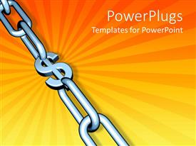 PowerPlugs: PowerPoint template with chrome chain on orange background with dollar sign at center of links