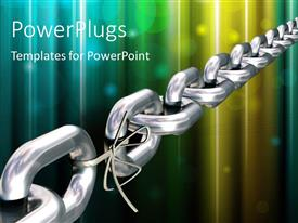 PowerPoint template displaying chrome chain with a weak link over colorful background