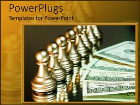 PowerPoint template displaying chrome chess pawns stand beside hundred dollar bills