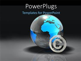 PowerPlugs: PowerPoint template with chrome copyright symbol and earth globe with reflection in background
