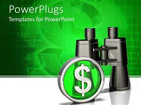 PowerPlugs: PowerPoint template with chrome dollar sign with black binoculars on green and white background