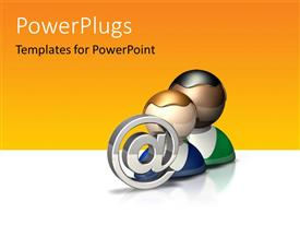 PowerPlugs: PowerPoint template with chrome email symbol with two people icons on white surface
