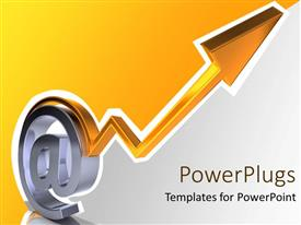 PowerPoint template displaying chrome email symbol with yellow arrow pointing upwards