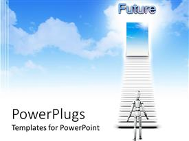 PowerPlugs: PowerPoint template with chrome figure approaches stairs to doorway showing blue sky and clouds