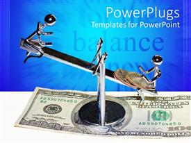 PowerPlugs: PowerPoint template with chrome figures and coins on balancing scales