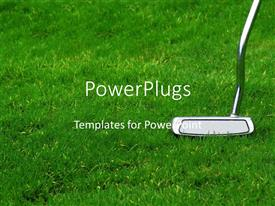 PowerPlugs: PowerPoint template with chrome golf club on green grass