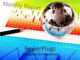 PowerPlugs: PowerPoint template with chrome jigsaw puzzle globe sitting on business charts with pencil