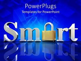 PowerPlugs: PowerPoint template with chrome letters spelling the word smart on blue reflective surface