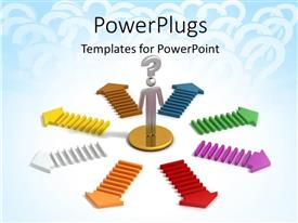 PowerPlugs: PowerPoint template with chrome man with question mark symbol over head and colored arrows