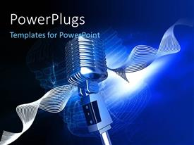 PowerPlugs: PowerPoint template with chrome plated studio microphone with depiction of sound waves on blue background