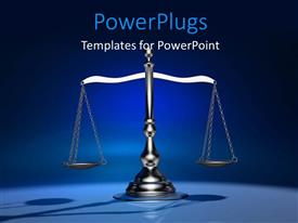 PowerPlugs: PowerPoint template with chrome plated weighting scale with shadow on blue background