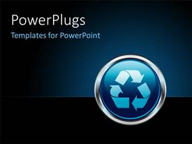 PowerPlugs: PowerPoint template with chrome recycle button internet icon with dark blue color