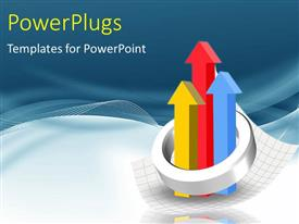 PowerPlugs: PowerPoint template with chrome ring around colored bar chart with arrows pointing upwards