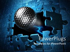 PowerPlugs: PowerPoint template with chrome spherical ball breaks out of blue jigsaw puzzle like wall