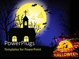 PowerPlugs: PowerPoint template with a church in the background with a halloween pumpkin and graves