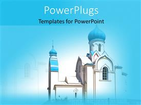 PowerPlugs: PowerPoint template with a church with a bluish background and place for text