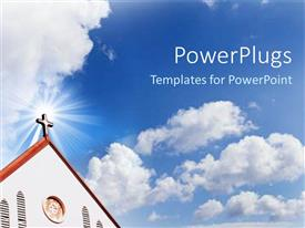 PowerPlugs: PowerPoint template with church cross steeple with blue cloudy sky