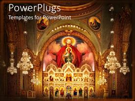 PowerPlugs: PowerPoint template with church interior with altar and dome and icons depicting Saints, Jesus Christ as a child and Virgin Mary