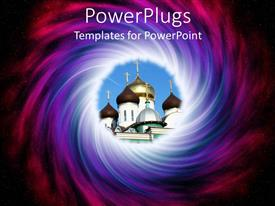 PowerPlugs: PowerPoint template with a church with a lot of colors