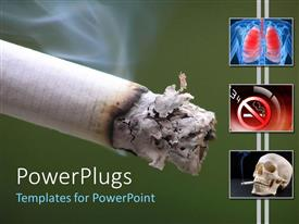 PowerPoint template displaying cigaret harm on lungs skull smoking green background