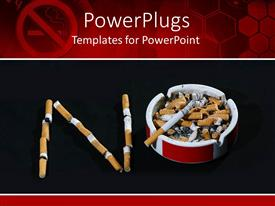 PowerPoint template displaying cigarette butts arranged to read NO symbolizing stop smoking sign