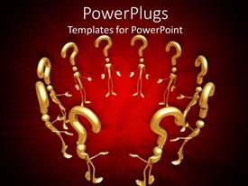 PowerPlugs: PowerPoint template with circle of 3D golden figures with question mark above head on red background