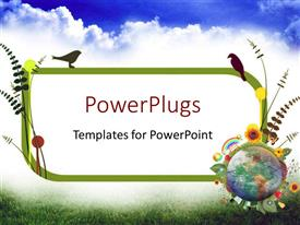 PowerPlugs: PowerPoint template with circle of the Earth globe surrounded by recycle and nature icons with atmosphere clouds