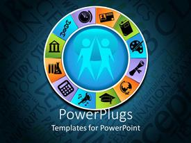 PowerPlugs: PowerPoint template with a circle with education related stuff and two figures in the center