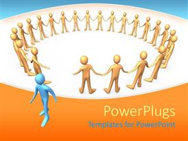 PowerPlugs: PowerPoint template with a circle of figures with one leaving the circle