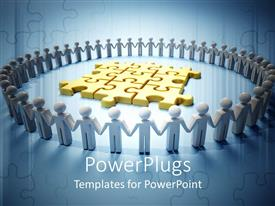 PowerPlugs: PowerPoint template with circle formed of figures holding hands and golden puzzle in the middle of circle