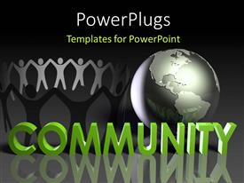 PowerPoint template displaying circle of paper dolls next to silver globe