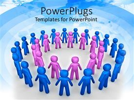 PowerPlugs: PowerPoint template with circle of purple figures framed by larger circle of blue figures