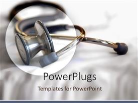 PowerPlugs: PowerPoint template with circled stethoscope on white folding background