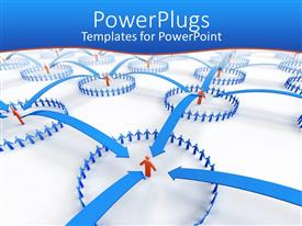 PowerPlugs: PowerPoint template with circles of blue human figures interconnected with blue arrows