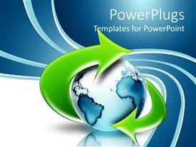 PowerPlugs: PowerPoint template with circular arrow round a blue earth on a blue and white background