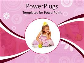 PowerPlugs: PowerPoint template with circular close up depiction of girl in pink dress and yellow flower in hair with green apple