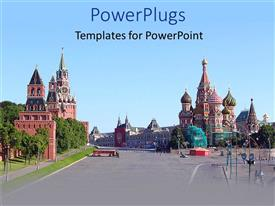 PowerPoint template displaying city depiction of Kremlin, beautiful buildings, temples, churches street view