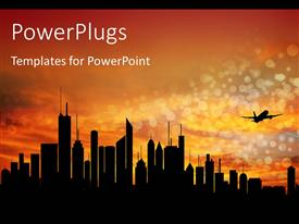 PowerPlugs: PowerPoint template with city downtown at sunrise/sunset with skyline silhouette and air-plane takeoff with orange sky