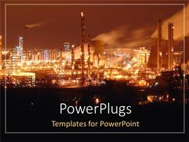 PowerPlugs: PowerPoint template with city night view with oil refinery industry, city lights, polluted city at night