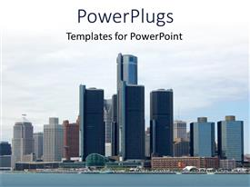 PowerPoint template displaying city view with river, skyscrapers near river water, high buildings of apartments