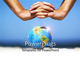PowerPlugs: PowerPoint template with clasped hands covering earth globe depicting earth preservation