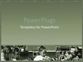 PowerPlugs: PowerPoint template with class room in black and white with students and teachers