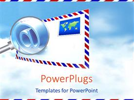 PowerPlugs: PowerPoint template with classic envelope with stamp and magnifying glass showing the @ symbol on sky background