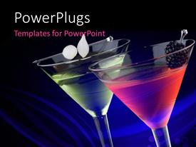 PowerPlugs: PowerPoint template with classical martini in chilled glass over abstract blue background